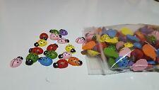 50 WOODEN LADYBUG CRAFTS INSECT LADY BUG NEW  50 WOODEN MULTI COLOR US FREE SHIP