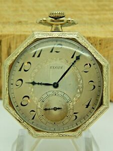 Very Clean Antique Elgin Octagonal case Art deco pocket watch 14K Gold Filled