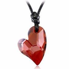 18K Gold GP SWAROVSKI Element Crystal Long Heart Pendant Necklace Red