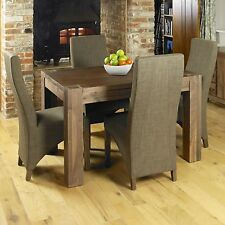 Shiro solid walnut dark wood modern furniture dining table and four chairs set