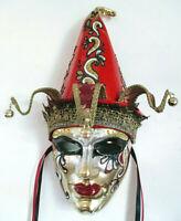 Giullare - Maschera veneziana artigianale in cartapesta, cuoio e broccato