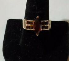 10k Solid Yellow Gold Natural Marquise Red Garnet + Diamond Ring size 10