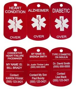 Personalised Medical Alert Dog Tag With Chain