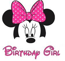 ****** DISNEY MINNIE MOUSE******BIRTHDAY GIRL**FABRIC/T-SHIRT IRON ON TRANSFER