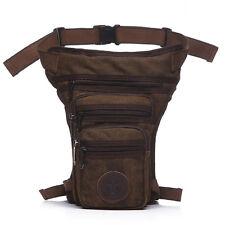Mens Canvas Multi-pocket Waist Bag Light Hiking Leg Bag Pocket Travel Fanny Pack