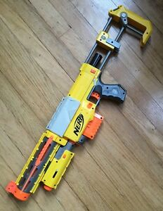 Nerf Recon CS-6 Blaster with Barrel, Clip, Stock, and Red Laser Dot