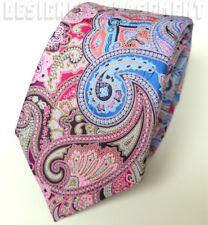 ERMENEGILDO ZEGNA Limited Edition QUINDICI pink/blue PAISLEY silk Tie NWT Authen