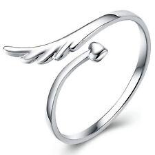Damen Ring  versilbert Engel Flügel & Herz größenverstellbar stylisch & cool