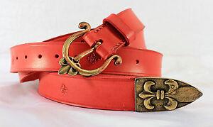 Medieval Renaissance Red Leather Fleur de Lis War Belt -- sca/larp/french/knight