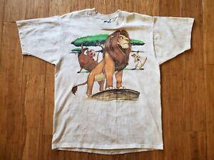 Vintage 90's The Lion King Movie Promo T Shirt XL Disney Liquid Blue Tie Dye