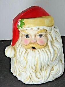 Vintage Santa Porcelain Christmas Head Vase Planter  Pot Taiwan A9268