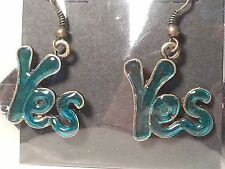 "Handmade Bronze Tone & Green ""Yes"" Drop Style Hook Fashion Earrings - Jewelry"