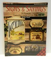 Signs and Sayings 16 Projects Folk Art Acrylic Paint 1994 Tole Painting