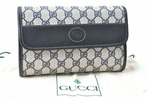 Authentic GUCCI Sherry Line Clutch Bag GG PVC Leather Navy Blue C5777