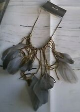 NEW on Trend Gold Tone Necklace Chains Feathers swirls Balls Hoops