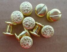 """Brass Fancy Head Chicago Screws 10 Pack 3/8"""" Belts Bridles Leather Craft New"""