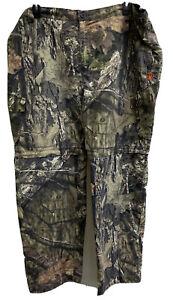 game winner mens camo hunting pants sz 3XL zip away legs mossy oak adj waist