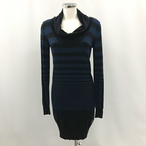 Calvin Klein Jumper Dress M UK 10-12 Blue Black Striped Cowl Neck Knit 033004
