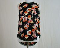 Who What Wear Women's Sleeveless Poppy Print Black Top NWT NEW - Size XS