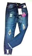 Almost Famous Junior Jeans Sz 9 Blue Distressed Shedded Frayed Ankle Stretch $59