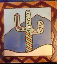 "Earth tones Southwest 6"" x 6"" Ceramic Tile or Trivet - Desert/Cactus"