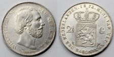 HOLANDA PAISES BAJOS 1872 WILLEM III 2 1/2 GULDEN MONEDA PLATA Bonita EBC