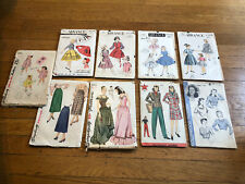 New Listing1940s Lot of 9 Vintage Sewing Patterns, Hollywood, Simplicity, Advance