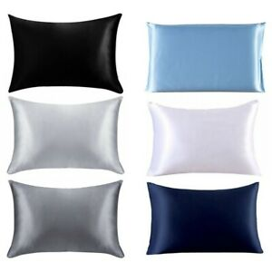 1PC Large Soft Artificial Silk Pillowcase Covers Bed Bedroom Queen Hair Hot