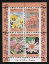 L3943 TANZANIA IN BLOOM  FLOWERS PLANTS NATURE SOUVENIR SHEET MNH