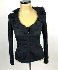 Anne Fontaine 38 Ruffle Blouse Black Long Sleeves V neck Pockets stretch US 4-6