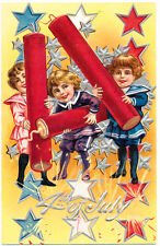 Firecrackers and Children July 4th Patriotic Postcard