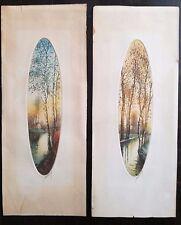 Paysage eau deux gravures couleurs aquatinte forme ovale, vers 1970