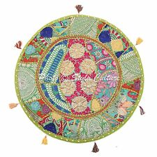 Ethnic Cotton Round Patchwork Floor Cushion Cover Couch Bohemian Vintage 22x22
