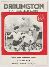 Darlington v Portsmouth programma 1980 MANO RARO firmato da manager BILLY Elliott