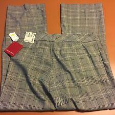 NWT Focus 2000 Women's Pants Size 10 Tummy Control Panel Gray Black Check $79