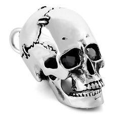 MENDINO Men's Heavy Stainless Steel Pendant Necklace CZ Eyes Skull Biker Silver