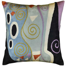 "Klimt Cushion Cover Marine Hand Embroidered Wool 18"" x 18"""