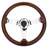 14inch Silver Spoke Steering Wheel 2'' Deep 350mm Walnut Wood Grain Trim Classic