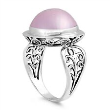 Bali Ring Sterling Silver 925 Genuine Pink Mabe Pearl Face Height 18 mm Size 8