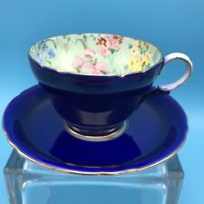 Vintage Shelley Melody Cobalt Blue Chintz Bone China Henley Tea Cup & Saucer