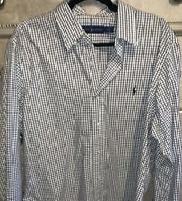 Ralph Lauren Men's Dress Shirt L large cotton blend long sleeve EUC