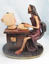 Skeleton Lady At The Computer Desk in Red Dress fantasy decor figurine