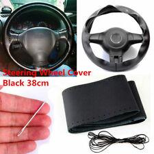 38CM Car Auto DIY Black Genuine Leather Steering Wheel Cover Wrap Sew-on Kit