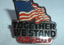 VINTAGE HOGEYE SILVERTONE US AMERICAN FLAG TOGETHER WE STAND 9-11-01 HAT PIN