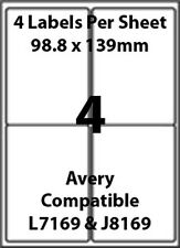 Avery L7169 Compatible Inkjet/Laser - 4 Blank Address Labels - 10 Sheets