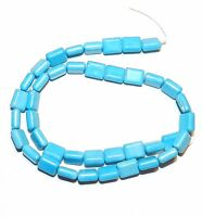 T247 Blue Turquoise 10mm Puffed Flat Rectangle Magnesite Gemstone Beads 15""