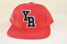 """YOUNG & RECKLESS """"YR"""" LETTERMAN RED ADJUSTABLE ONE SIZE FLAT BILL CAP/HAT"""