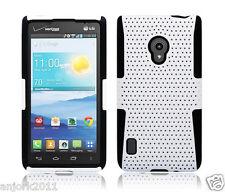 LG Lucid 2 VS870 Mesh Hybrid Hard Case Skin Cover Accessory White Black
