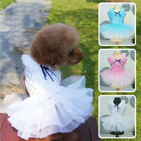 Pet Dog Cat Clothes Bow Tutu Dress Lace Skirt Puppy Princess Wedding Apparel