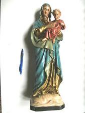"""""""Magnifique STATUETTE VIERGE MARIE + ENFANT"""" polychrome, 51 cm, plâtre"""